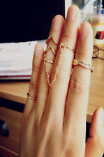 6pcs Set Gold Tone Stack Above Knuckle Cute Leaves Crystal Midi Band Rings Chain