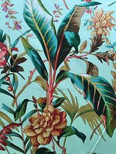 BTY SCHUMACHER MEDITERRANEE GREEN TROPICAL HAND PRINT $679 RETAIL FABRIC OUTLET