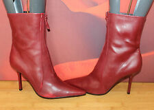 Red real leather pointy heelNine West zip ankle boots 9 W uk 7 VGC B15