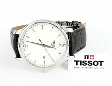 Tissot T0636101603700 Men's Tradition Quartz Watch, Silver Dial Brown Strap -NEW
