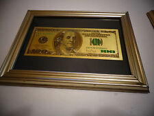 24 KT GOLD USA $ 100  DOLLAR BILL-FRAMED-GREEN SEAL-BLACK BACKGROUND