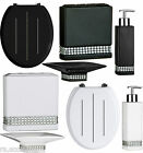 BATHROOM ACCESSORIES SET & TOILET SEAT BLACK AND WHITE RADIANCE