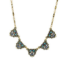 ANNE KOPLIK   5 CRYSTAL  FLOWERS FILIGREE NECKLACE ~ Swarovski crystals