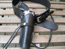 """Leather Gun Belt with Smooth Holster Combination - Black - Sizes 34"""" to 52"""""""