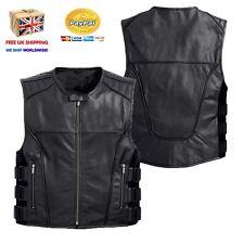 Motocicleta Harley Motociclista Chaleco Estilo Swat Premier grado Chaleco Cuero Negro