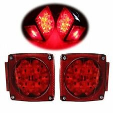 Pair Truck Boat Trailer Stop Brake Light Side Marker LED Tail Submersibl Sq