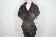 Vintage Dark Brown Soft Real Mink Genuine Fur Wrap Stole Shawl Jacket Cape Shrug