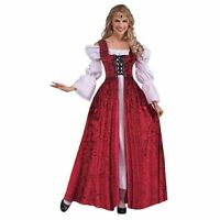 Red Ladies Medieval Lace Up Gown - Fancy Dress Reenactment Theatre Play Size