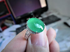 18k Solid White Gold Diamond Natural Genuine A Jadeite Jade Full Green Jade Ring
