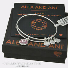 Authentic Alex and Ani June Birthstone Shiny Silver Light Amethyst Bangle