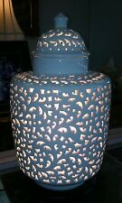 Vintage Blanc de Chine pierced Ginger Jar Light Chinoiserie Hollywood Regency