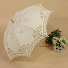 Chic Ivory Handmade Cotton Parasol Lace Umbrella Party Wedding Bridal Decoration