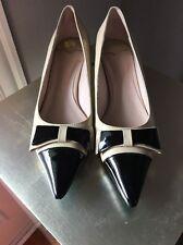Miu Miu Patent Bow Kitten Heels Beige Black Pointy 38 7.5-8