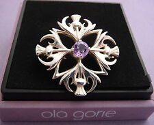 """Ola Gorie Silver Thistle Brooch / Pendant 18"""" 925 Chain Amethyst Scottish Boxed"""