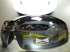 Mens MOTORCYCLE BIKER RIDING PADDED CHOPPERS SUN GLASSES GOGGLES Black & Yellow