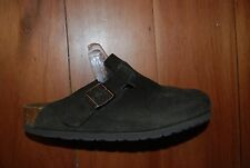 Unisex Dark Brown Suede BIRKENSTOCK Backless Closed Toe Slides Man 4 Lady 6