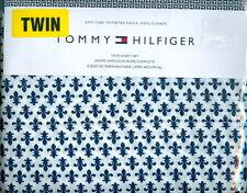 Tommy Hilfiger ~ 3 Pc TWIN Sheet Set ~ Navy & White ~ Fleur De Lis Pattern ~ NIP