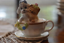 Napcoware Bone China miniature poodle dog and cat in tea cup figurine