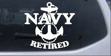 Navy Retired With Anchor Car or Truck Window Laptop Decal Sticker White 6X6.3
