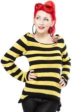 130658 Black Yellow Mohair Striped Sweater Sourpuss Stripes Bee Punk Small S