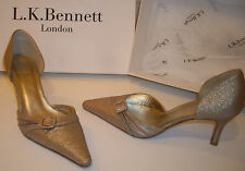 LK BENNETT Gold Pointed Toe Court Shoes Mid 2.75'' Heel Size UK3 EU36 US6-6.5
