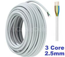 WHITE 3 Core Flexible Flex Mains Wire Cable 1m - 100m 2.5mm (3183Y) Per Metre