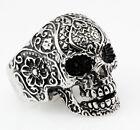 3pcs Men's Gothic Skull Flower Biker Stainless Steel Ring US Size 10, 11, 12