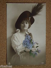 Vintage Postcard: Glamour Young Lady holding Bouquet of Flowers, E. J Hey & Co