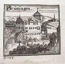 Grüningen  Schweiz Bluntschli  seltener echter alter Kupferstich 1742
