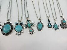 *US Seller*wholesale 20pcs vintage style turquoise gemstone pendant necklace