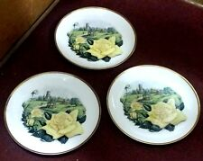 SET OF 3 BOEHM OF MALVERN ENGLAND IRISH GOLD ROSE CABINET PLATES COLLECTOR