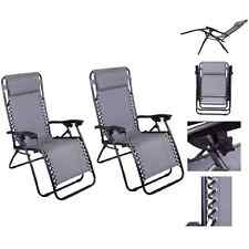 Lounge Chair Recliner OutdoorPatio Pool Beach Outdoor Folding Chair-1 Pair Gray