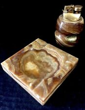 Beautiful Vintage Hand Made Onyx Lighter & Matching Ashtray Set By Gi-MAR Italy