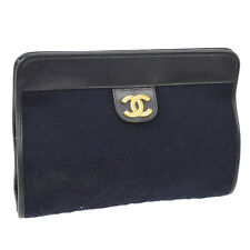Auth CHANEL CC Clutch Bag Pouch Black Navy Black Cotton Leather Vintage NR09104