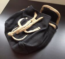 Hipster Retro Black Woven Hessian Burlap Sack Backpack Holiday Travel Bag Small