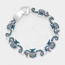 Sea Horse Bracelet Chain Link Magnetic Closure Clasp Enamel Beach SILVER SeaLife