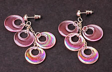 FUN DANGLING DROP EARRINGS FLAT PLASTIC PINK CIRCLES CHARMS (ZX23)