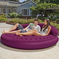 Inflatable Mattress Air Bed Lounge Daybed Outdoor Sofa Round Poolside Back Rest
