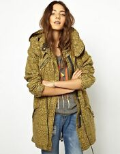 NEW Maison Scotch Super Parka Anorak Jacket Hooded Batik Print Khaki Coat SZ 1/S