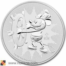 NIUE 2 Dollars 2017 DISNEY Mickey Mouse Steamboat Willie 1 Onza de plata (S/C)