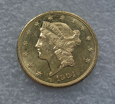1904 USA 20 DOLLARS GOLD EAGLE COIN DOLLAR - UNC / BU - SUPERB LUSTER