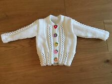 New Hand Knitted Girls White Cardigan With Strawberry Buttons, Size 6-9months
