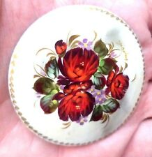 "STUNNING VINTAGE ESTATE HAND PAINTED RUSSIAN LACQUER FLOWER 2"" BROOCH!!! 4478G"