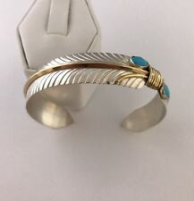 Native American sterling silver  Turquoise  Feather Gold Field Cuff bracelet