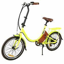 """New 20"""" Foldable Electric Bicycle E Bike Outdoor pedal-assist  24V 250W yellow"""