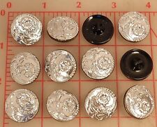 "12 vintage silver glass shank Czech buttons flower design 22mm 7/8"" #77"
