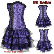 3pcs Fashion Style Lace Up Bone Overbust Corset + Mini Skirt Costume Bustier Set