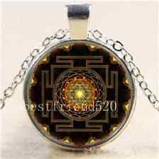 Sri Yantra Photo Cabochon Glass Tibet Silver Chain Pendant  Necklace
