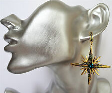 Stunning Emerald Green Crystal Dangle Drop Earrings Star Shape in Gold Tone