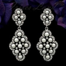 Rhodium Plated Clear Crystal Rhinestone Pearl Wedding Drop Dangle Earrings 00603